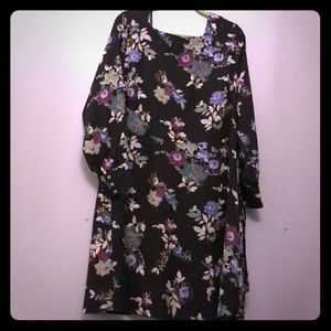 Loft fit and flare black print dress size 20w